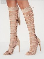 Cheap Strappy Knee High Gladiator Heels | Free Shipping Strappy ...