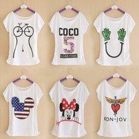 Vente en gros 2016 Été nouvelle marque T-shirt imprimé numérique Minnie coton T-shirt Lady Batwing Tee-shirt manches Top Tee pour les femmes
