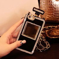 apple cover chain - For iPhone s Plus Plus Samsung S3 S4 S5 Note Long Chain Rhinestone Perfume Bottle Black K87 Cellphone Case Protect Back Cover