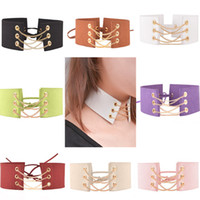 Wholesale 8 Colors Europe and the United States Fashion Collars Exaggerated Personality Lace up Necklace Wide Cloth Chain Chokers