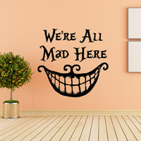 Murals alice in wonderland home decor - Alice In Wonderland Wall Sticker Quote Cheshire Cat Sayings We Are All Mad Here Vinyl Decals Nursery Wall Decal Home Decor DIY