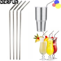 Wholesale Straight Bent Stainless Steel YETI Drinking Straws For Yeti oz Mugs Tumbler Cup With Cleaning Cleaner Brush Straws