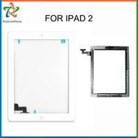 Panel de Digitaces del digitizador de la pantalla táctil con el conectador de Ic para el iPad 2 con negro / blanco adhesivo de los botones Envío libre