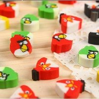 animal erasers - pack New Cute Mini Colorful Birds cartoon animals Funny Eraser Rubber kids Gift Mixed Well Packaging