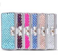 Precio de Teléfonos celulares casos de cuero-Caja cristalina del cuero del tirón de la carpeta del arco del rhinestone del diamante de la caja caliente del teléfono celular de la venta para el iphone 7 7s 6 6s más la nota 5 de la galaxia s6 s7 de Samsung