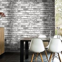 Wholesale PVC Brick Stone Wall Paper Modern Chinese Style Vintage TV SofaBackground Wallpaper D Grey Red Rolo papel de parede para quarto