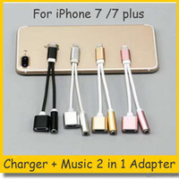 Wholesale 2 in Colorful mm Headphone Jack Adapter For iPhone plus s plus Earphone Charger Cable High Quality