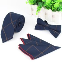 Wholesale Mens Designer Fabric Of Business Suit Striped Skinny Pocket Square Handkerchief Butterfly Bow Tie Ties Set
