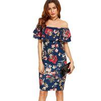 Wholesale 2017 Summer Dress The Shoulder Ruffle Sheath Dress Clothes Women Short Sleeve Multicolor Floral Print Off