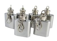 Wholesale 2017 Stainless Steel oz mini hip flask with key chain DROP SHIPPING