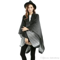 Wholesale 2016 New Brand Women s Autumn Winter Houndstooth Poncho Vintage Blanket Womens Lady Knit Shawl Cape Cashmere Scarf Poncho D6050