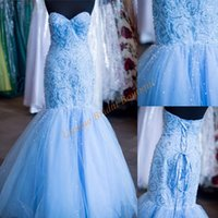 beading ring patterns - Mermaid Prom Dresses with Lace Up Back and Sweetheart Neckline Real Image Sexy Ring Dance Gowns Major Beading Tulle Pageant Dress
