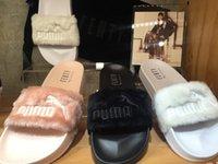 autumn slippers women - puma New Style Leadcat Fenty Rihanna Shoes Men Women Slippers Indoor Sandals Girls Scuffs Cheap Fur Slides High Quality