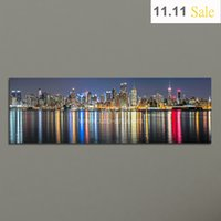 Wholesale Canvas Decors - Guarantee New York City Canvas Painting Panoramic Home Decor Canvas Wall Art Picture Landscape Digital Art Print for Living Room