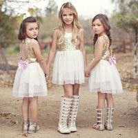 Wholesale Kids Clothes Fashion Baby Girls Wedding Dresses Childrens Sequins Backless Princess Dress Summer