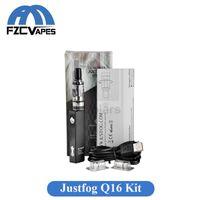 Wholesale Original Justfog Q16 Kit mAh Black Silver E Cigarette Vape Pen Starter Kit with ml Atomizer ohm OCC Coil