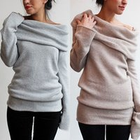 Wholesale New Women Sexy Casual Off Shoulder Roll Neck Long Sleeve Knitted Jumper Sweater Top
