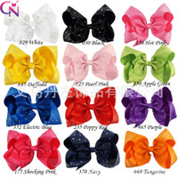 Barrettes baby dance accessories - 7Inch Girls Dancing Big Hair Bows grosgrain Ribbon Bowknot Barrettes Rhinestone For School BABY Children Hair accessories