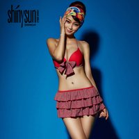 american conservative - Summer sexy sexy European and American bikini shoulder strap conservative printing swimsuit lady conservative steel towers gather swimsuit