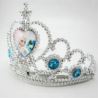 achat en gros de coeurs queen tiare-Couronne Frozen Cosplay Coronation Filles Cartoon 3D Kawaii Anna Elsa Princesse Reine Coeurs Diamond Tiara Parti Accessoires Pageant