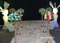 Wholesale mental wedding walkway backdrop decoration mental tall flower wrought iron vase stands