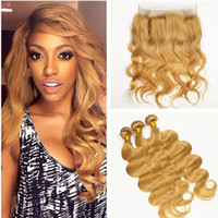 band strawberry - Honey Blonde Body Wave Full Lace Frontal Pre Plucked Band Lace Closure With Strawberry Blonde Color Bundles Brazilian Hair