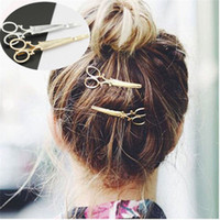 Wholesale 2Pcs Fashion Siver Gold Scissors Shaped Hair Clip Gold Silver Hair Pin Women Hair Barrettes Accessory