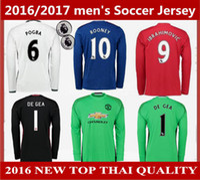 Wholesale 16 men s MancHester IBRAHIMOVIC POGBA Long Sleeve UnITED Jerseys Uniforms MEMPHIS MATA ROONEY goalkeeper DE GEA football shirts