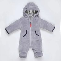 Wholesale Winter Lovely Baby Clothes Kids Clothing Gray Coral Cashmere Romper Jumpsuits For Baby Boy and Girl Long Sleeve Plush Cotton Rompers