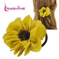 achat en gros de accessoires de cheveux de fleurs jaunes-New Arrival Fashion Accessoires pour cheveux Black Elastic Headbands Pink Yellow Chiffon Flower Headwear Accessoires Femmes