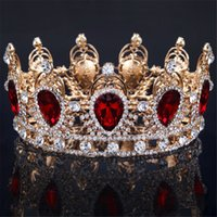 beautiful plastic plates - 2016 Hot Sale For Wedding Tiaras and Crowns Beautiful Red Color Crystals Quinceanera Shiny Queen Dancing