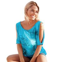 Grossiste T-shirt Femme Off Shoulder Feather Imprimer manches courtes Summer Top Jumper T Shirt Femmes Femmes Tops Tee Shirt Femme