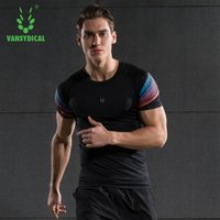 Wholesale Men Gym Fitness Compression Shirts Dry Quick Elastic Breathable Skins Base Layers Tees Tops Tights Running T shirts Sports jersey