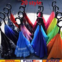 Wholesale Umbrella Inverted Umbrella Double Layer Inverted Umbrella Reverse Rainy Sunny Umbrella with C Hook umbrella WX U03