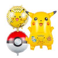 Wholesale Poke go Balloons ballon Cartoon Pikachu inch aluminum foil Balloon Children toys Kids Birthday Party Halloween Christmas Gifts