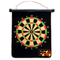Wholesale Inches Magnetic Roll up Dart Board Double Sided Hanging Dart Game Set with Six Darts Kids Toys