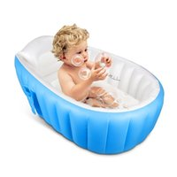 Wholesale Inflatable Baby Bathtub Portable Mini Air Swimming Pool Kid Infant Toddler Thick Foldable Shower Basin with Soft Cushion Central Seat Blue