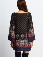 baroque dresses - Loose Sleeve Printing Dress with National Style and Baroque Printing Retri and Fashion Dress