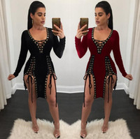 Wholesale Sexy criss nightclub bandage Bodycon deep V hollow out long sleeved dress Bodycon dress club