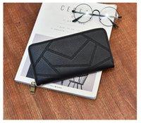 La nouvelle marque de mode épissures patrons PU femmes en cuir à long portefeuilles de haute qualité double couche sac d'embrayage sac à main de la tirette # 68075