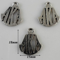 aka free - a hot sale antique silver plated greek letter alpha AKA charms