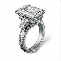 Piedras preciosas conjunto de plata de ley Baratos-La torre Eiffel de la plata esterlina del lujo 925 pavimenta el ajuste 408PCS CZ La piedra preciosa cuadrada grande del diamante 8CT suena el anillo de las vendas de la boda de la joyería para las mujeres