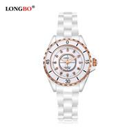 Lujo marca original de señora White Ceramic Watches Relojes de cuarzo de alta calidad para las mujeres Moda exquisita mujeres relojes