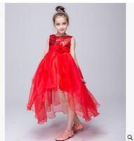 al por mayor vestido largo de la gasa de los niños-Los niños al por mayor del cequi del vestido del cequi del tutú de la flor del cordón del tutú se visten de princesa Chiffon Formal Los cabritos forman la ropa 100 de la muchacha de la manera