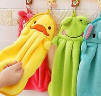 Wholesale Hot Hot Baby Hand Towel Soft Children s Cartoon Animal Hanging Wipe Bath Face Towel