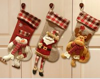 big foot bags - Christmas three type new arrival plaid big foot childrens Christmas stockings bag gift socks candy products