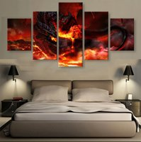 Wholesale 5 Panels Unframed Wall Art Painting Fire WOW Dragon Hanging in Home Decoration
