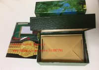 Wholesale High Quality Brand Watch Boxes Oyster Perpetual Green Box Papers File Card Use Watches