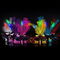 Wholesale lovely glowing party mask Mini LED Feather Mask Halloween Decoration Venetian Masquerade Party Flower Beads Princess Kid Gift