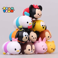 5-7 Years Multicolor Tsum Tsum Micky Kids 10pcs set Tsum Tsum Action Figures Toys Mickey Minnie Donald Duck Daisy Goofy winnie pooh Pluto Anime mini figurines dolls Gift